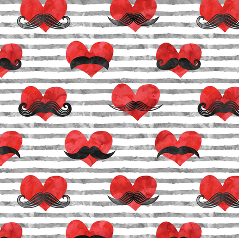 watercolor hearts with  mustaches (red & grey) fabric by littlearrowdesign on Spoonflower - custom fabric