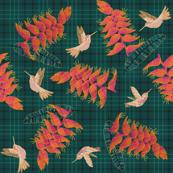 Plaid Heliconia & Hummingbirds N3 (dark green)
