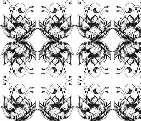 Lotus Black fabric by het on Spoonflower - custom fabric