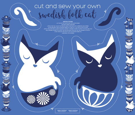 Cut and sew your own swedish folk cat fabric by selmacardoso on Spoonflower - custom fabric
