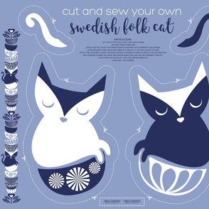 Cut and sew your own swedish folk cat // pale blue background