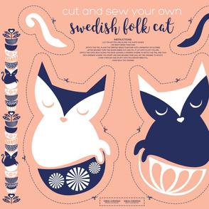 Cut and sew your own swedish folk cat // flesh background