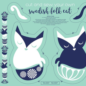 Cut and sew your own swedish folk cat // mint background