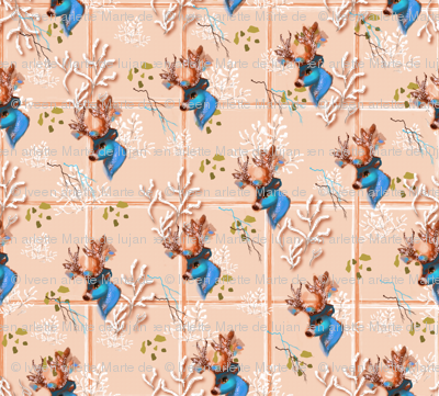 Icy Blue Antler Tiles