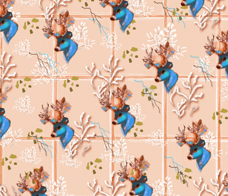 Icy Blue Antler Tiles fabric by cutebugbubbles on Spoonflower - custom fabric