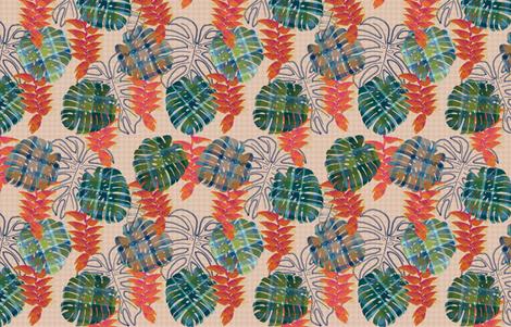 Plaid Tropics beige fabric by helenpdesigns on Spoonflower - custom fabric