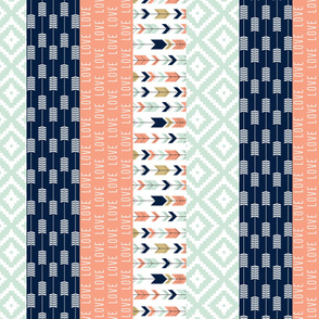 1 yard panel - coral, mint, & navy love - strip quilt