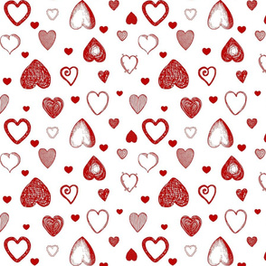 Love Hearts Doodles in Red / Valentine's Day Heart Sketch