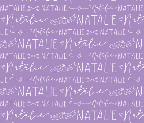 Girls Personalized Name Fabric // Violet and White - Natalie fabric by heatherhightdesign on Spoonflower - custom fabric