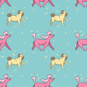 Doggie Walk Pink Poodle & Yellow Pug