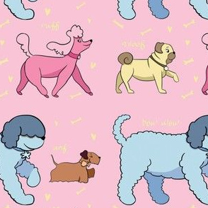 Doggie Walk - Pink Background