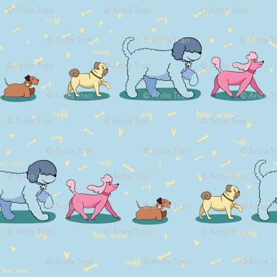 Doggie Walk - Doggies on Sky Blue Background