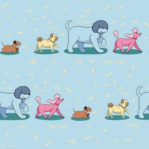 Doggie Walk - Doggies on Sky Blue Background