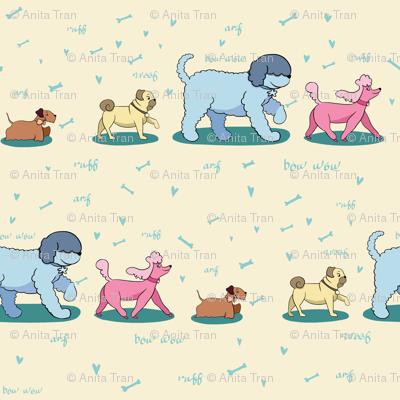 Doggie Walk - Doggies on Yellow Pastel Background