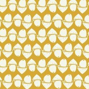 acorns on mustard yellow
