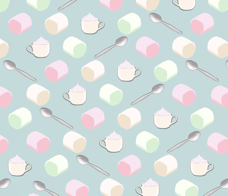 Hot Cocoa and Marshmellows fabric by veata_atticus_store on Spoonflower - custom fabric