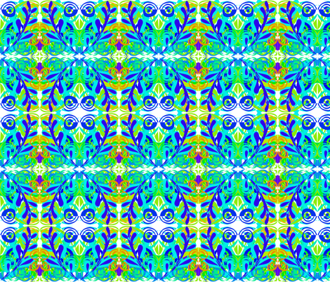 Tropical Leafy Damask on White - Medium Scale fabric by rhondadesigns on Spoonflower - custom fabric