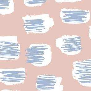 Modern abstract trend Scandinavian style brush spots and scribblings raw ink beige blue