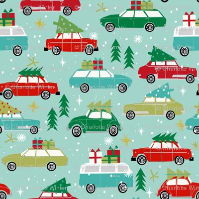 vintage christmas cars (Small) holiday xmas christmas fabric tree on car