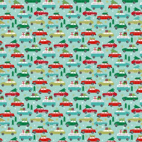 vintage christmas cars (Small) holiday xmas christmas fabric tree on car fabric by charlottewinter on Spoonflower - custom fabric