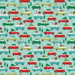 vintage christmas cars (Small) holiday xmas christmas fabric tree on car