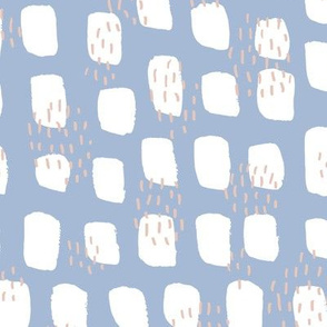 Abstract Scandinavian white spots textured raw brush and ink strokes blue