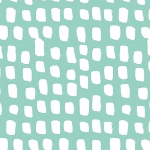 Abstract white spots Scandinavian minimal designs brush dashes mint