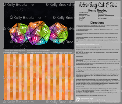 Orange and Rainbow Dice Bag Cut and Sew