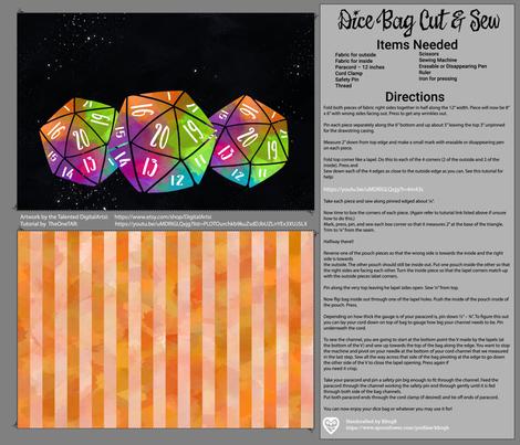 Orange and Rainbow Dice Bag Cut and Sew fabric by kfrogb on Spoonflower - custom fabric
