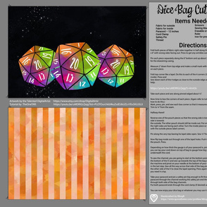 Orange and Rainbow Dice Bag Cut and Sew