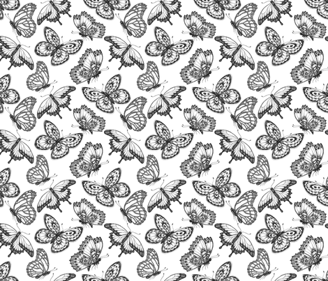 Butterfly - Tattoo fabric by artfully_minded on Spoonflower - custom fabric