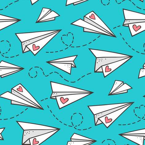 Paper Plane Love Hearts Valentine on Blue fabric by caja_design on Spoonflower - custom fabric