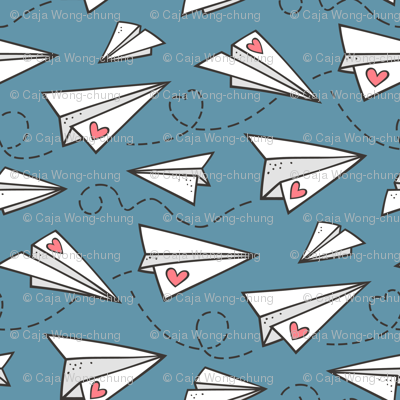 Paper Plane Love Hearts Valentine on Dark Blue Denim