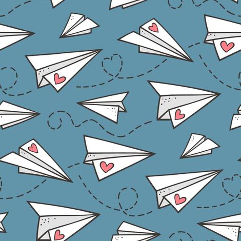 Paper Plane Love Hearts Valentine on Dark Blue Denim fabric by caja_design on Spoonflower - custom fabric