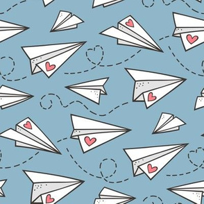 Paper Plane Love Hearts Valentine on Light Blue