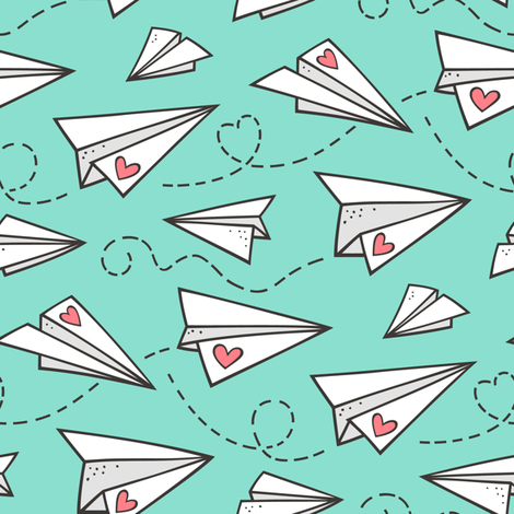 Paper Plane Love Hearts Valentine on Mint Green fabric by caja_design on Spoonflower - custom fabric