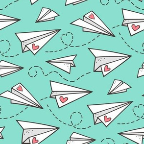 Paper Plane Love Hearts Valentine on Mint Green