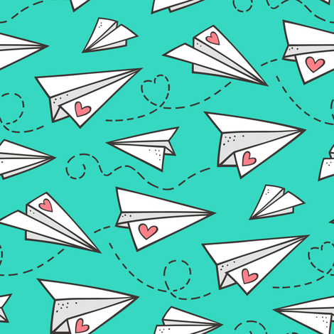 Paper Plane Love Hearts Valentine on green fabric by caja_design on Spoonflower - custom fabric