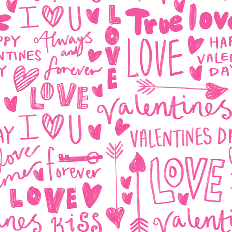 doodle love // typography love fabric valentines day white pink fabric by andrea_lauren on Spoonflower - custom fabric