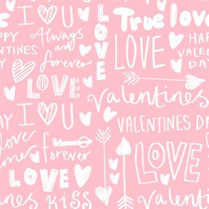 doodle love // typography love fabric valentines day pink