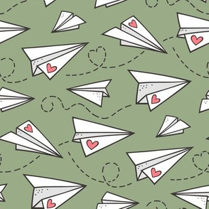 Paper Plane Love Hearts Valentine on Olive Green