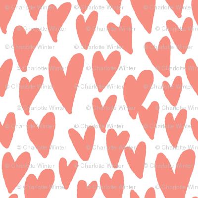 valentines hearts fabric valentines day love peach