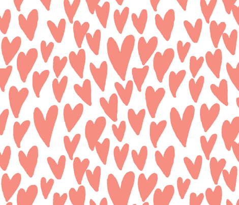 valentines hearts fabric valentines day love peach fabric by charlottewinter on Spoonflower - custom fabric