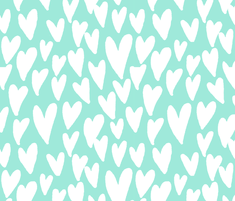 valentines hearts fabric valentines day love mint fabric by charlottewinter on Spoonflower - custom fabric