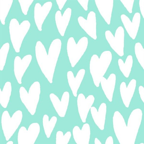 valentines hearts fabric valentines day love mint