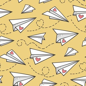 Paper Plane Love Hearts Valentine on Yellow