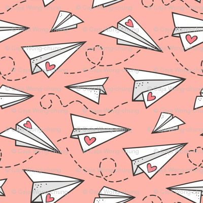 Paper Plane Love Hearts Valentine on Peach Pink