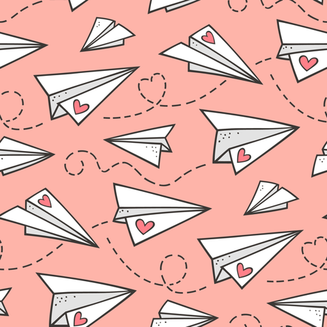 Paper Plane Love Hearts Valentine on Peach Pink fabric by caja_design on Spoonflower - custom fabric