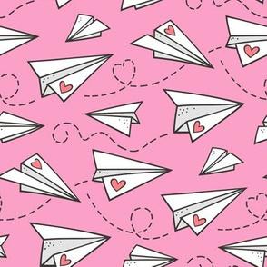 Paper Plane Love Hearts Valentine on Pink