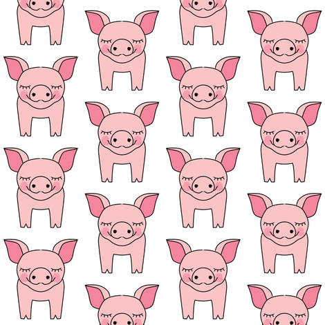 pigs on white fabric by lilcubby on Spoonflower - custom fabric